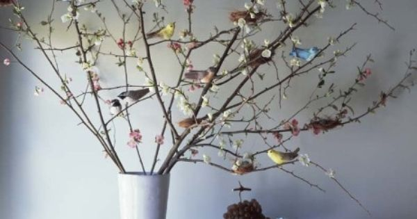 So pretty for spring. Artificial birds on tree branch in vase.