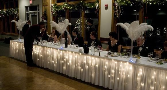 Icicle Lights under a table cloth for head table or food table
