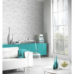 Arthouse White Brick Paper Strippable Wallpaper Covers 57 26 Sq Ft 623004 The Home Depot White Brick Wallpaper Brick Interior Wall White Brick Walls
