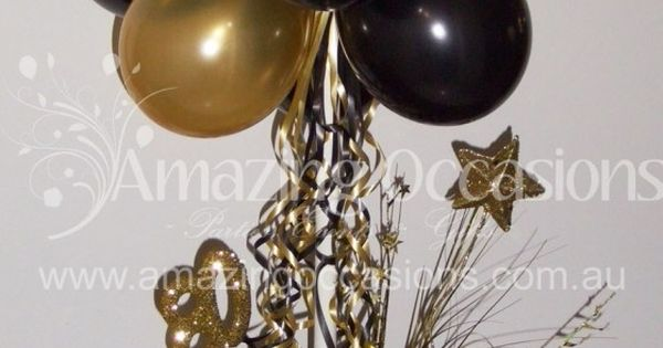 Black and gold balloon centerpiece bing images party
