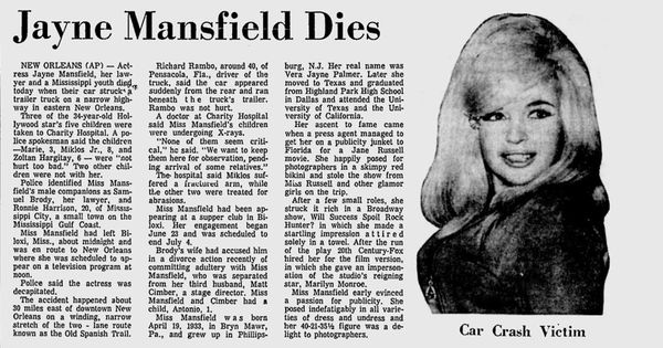 Jayne mansfield dies hollywood history 1 pinterest for How old was jayne mansfield when she died