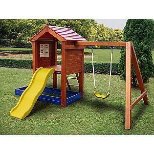 Sand N Swing Swing Set Sportspower 329 99 Help Make A Backyard Fun By Chipping In With Inlu Com Backyard For Kids Backyard Playground Backyard Play