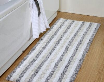 Highland Dunes Dansby Stripe Cotton Textured Bath Rug Colour Grey In 2020 Cotton Texture Bath Mat