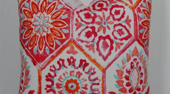 Moroccan Tile Orange Aqua Raspberry Indoor Outdoor Decorative Pillow Cover Designer Ikat Throw