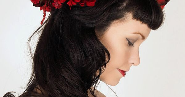 Crimson Red Flower Crown Dramatic Holiday Wedding Headpiece Sweet Little Sparrow Pinterest