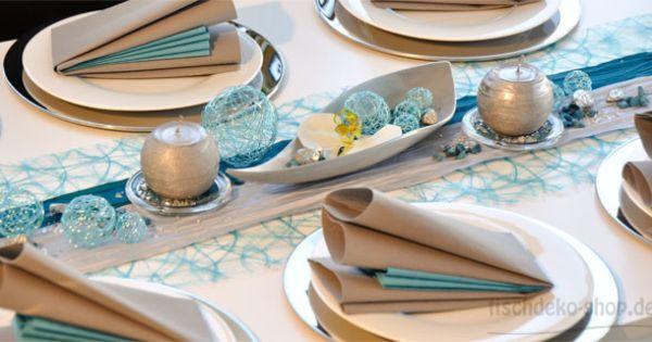 Tischdeko silberhochzeit t rkis silber hochzeit pinterest for Tischdeko silberhochzeit ideen