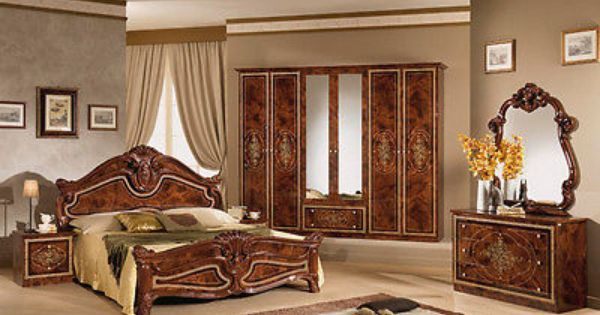 italienisches schlafzimmer rokko luxus 6 tlg bett komplett barock walnuss ideen rund ums haus. Black Bedroom Furniture Sets. Home Design Ideas