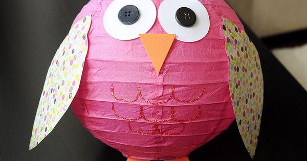 Darling owl paper lantern form a dollar store lantern.