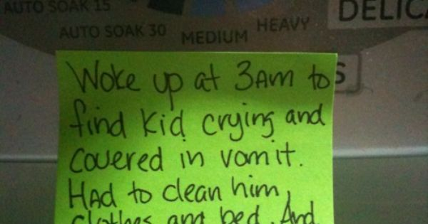 Lmao, this stay-at-home Dad writes messages on sticky notes around the house,