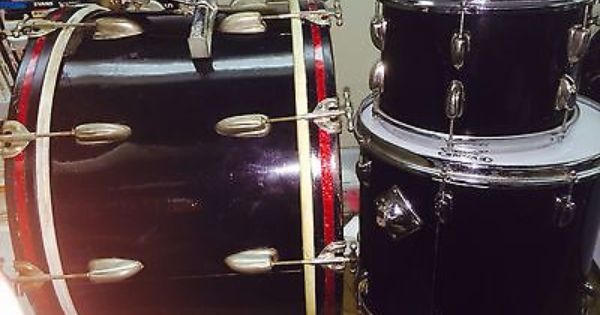 1950 S Slingerland Black Radio King 22 12 W Later 16 Floor Tom Vintage Drums Percussion Instruments Percussion