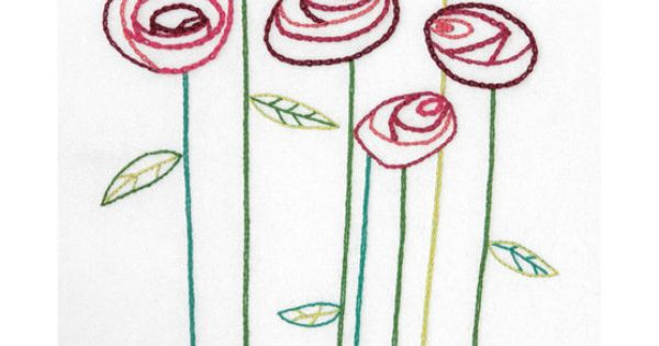 Simple roses wedding record crewel embroidery kit