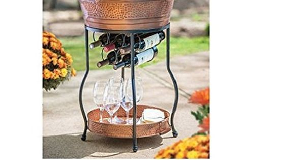 Galvanized Copper Party Bucket With Stand And Tray 9 25