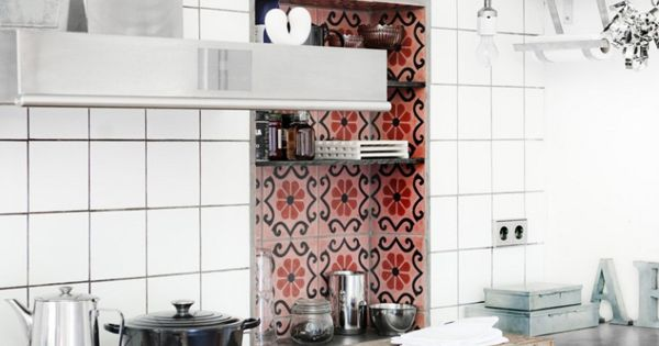 recessed shelving with tile