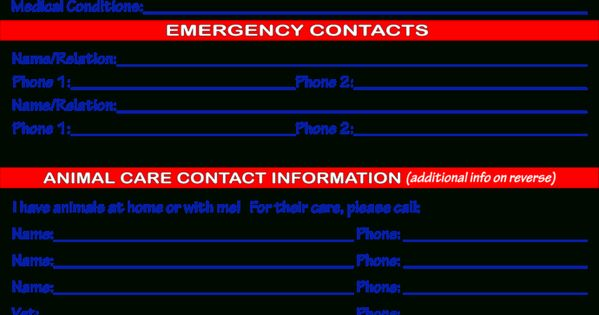 Emergency Information Card Template Crafts4k9rescue Throughout Emergency Card Template In 2020 Card Template Templates In Case Of Emergency