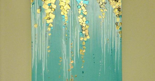 Original moderne abstrakte Malerei auf Leinwand metallisch  Wohnzimmerwand  Pinterest ...