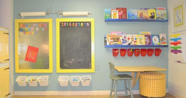 An art wall in a playroom collapsable fold down table for Magnetic board for kids ikea