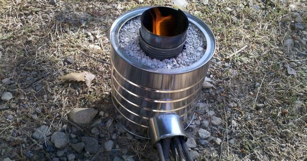 Home made rocket stove it 39 s just cool pinterest for Tin can rocket stove