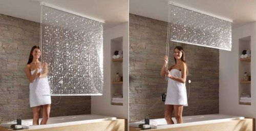 Pull Down Ceiling Mounted Shower Curtains Craziest Gadgets Brilliant Ideas
