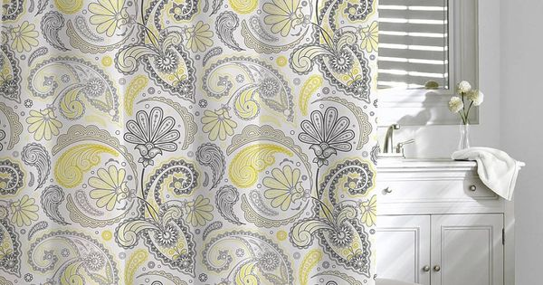 Kassatex Paisley Shower Curtain, Yellow/Grey