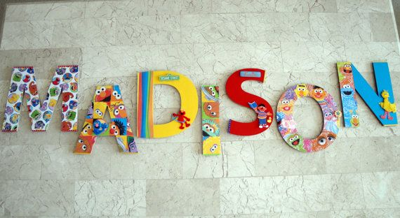 New sesame street muppets 3d custom wall letters nursery for Wall letters kids room