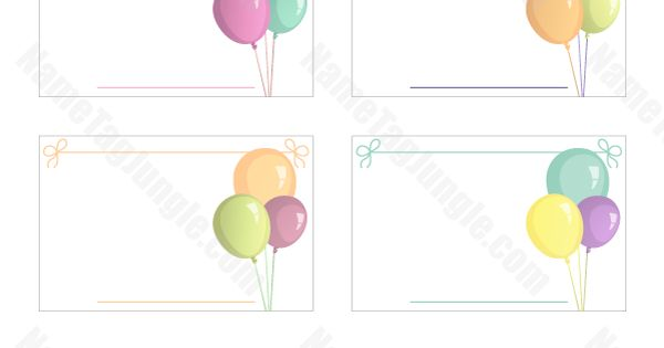 Free Printable Balloon Name Tags. The Template Can Also Be
