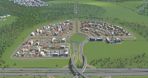 Industrial Zone Layout It Surprisingly Works Well Citiesskylines City Layout City Skylines Game City Maps Design
