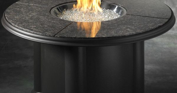 Gas Fire Pit Cocktail Table Stainless Steel Natural Granite Top Fire Glass Gems Fire Glass