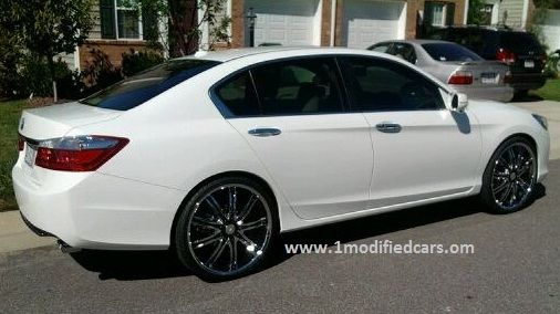 Modified 2013 Honda Accord V6 Pearl White With 22 Inches Rims
