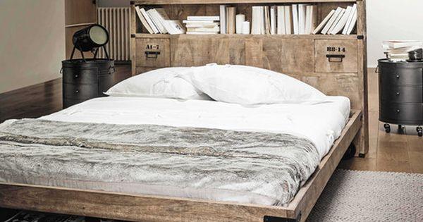Testiera del letto 140 con scaffali in legno massiccio l for Testiera letto maison du monde