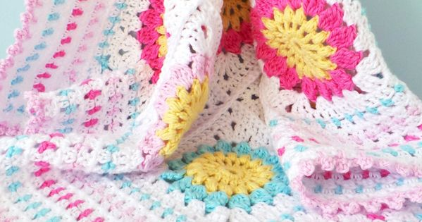 Crochet Patterns Cotton Yarn : Granny square baby blanket pattern, Cotton yarn blanket ...
