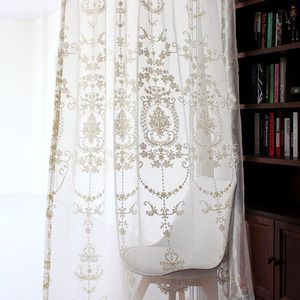 Classical Embroidered Floral Pattern White Sheer Curtain White