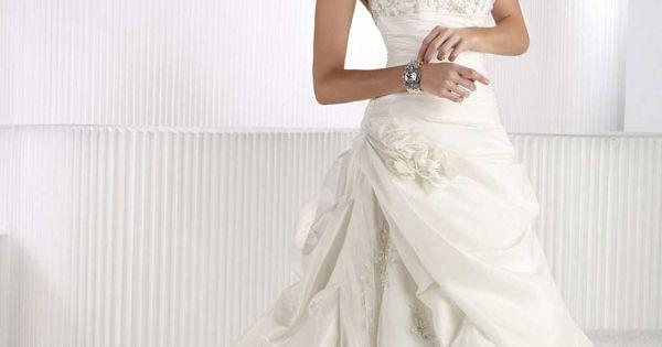 Fashionable sweetheart neckline with natural waist taffeta wedding dress