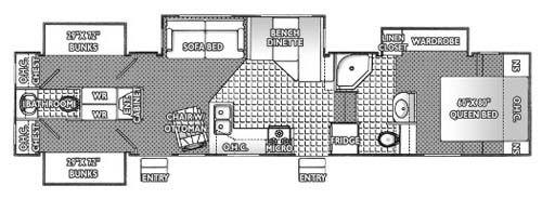 Rv 2 Bathroom Floor Plans 2005 Titanium 36e41 Fifth Wheel Floor