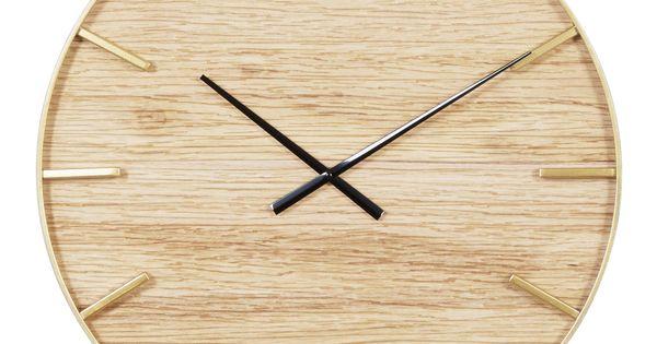 Wood Grain And Metal Wall Clock Black Brown Gold By World Market In 2020 Metal Wall Clock Wall Clock Minimalist Wall Clocks