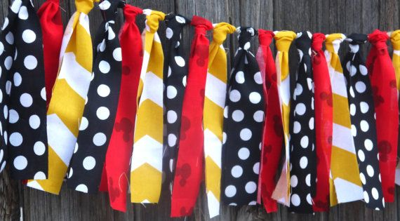 Mickey Mouse Inspired Rag Tie Garland Fabric By