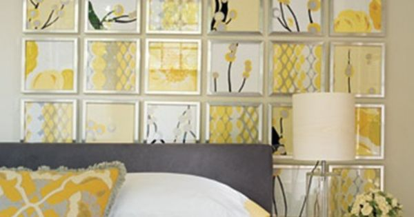 Love the idea for a wall in a gray and yellow bedroom.
