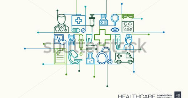 Healthcare Integrated Thin Line Symbols Modern Linear Style Vector Concept With Connected Flat Design Icons Abstr Healthcare System Health Care Telemedicine
