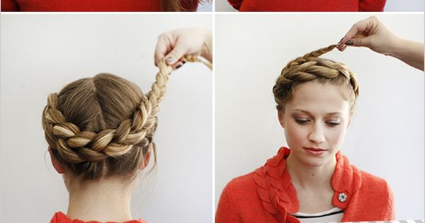 """French crown braid. """"How to Halo Braid"""" tutorial by HairstylesDesign.com."""
