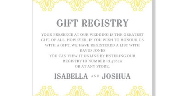Message For Wedding Gift List :  Gift RegistryPollyannaStationeryGift RegistryWedding ...