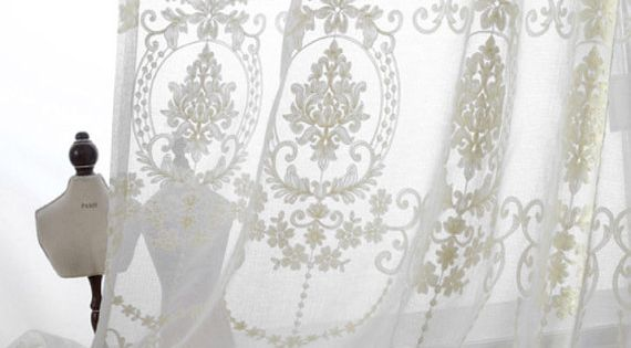 """A Pair Of White Sheer Curtains Made To Order Upto 104""""L"""