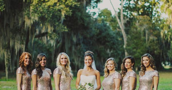 gorgeous gold bridesmaid dresses | Ariel Renae wedding