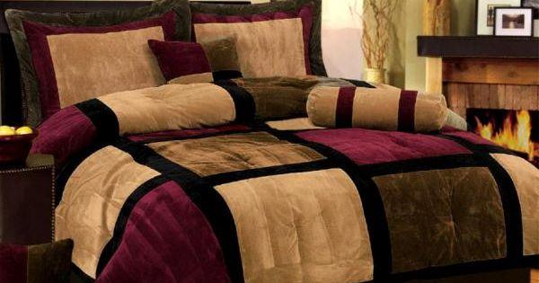 Burgundy And Black Velvet Comforter Bed Set Burgundy Or