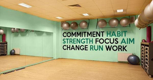 Fitness inspiration wall decal mural available in or