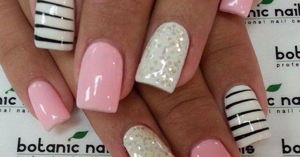 ♥ black, white, pink, silver, glitter, sparkle, mani, manicure, finger nails, polish,
