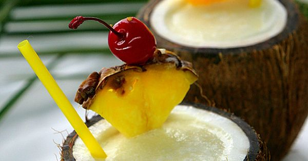 Pina Colada in a coconut. islands