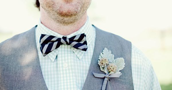 striped bow tie and light green boutonniere | The Nichols