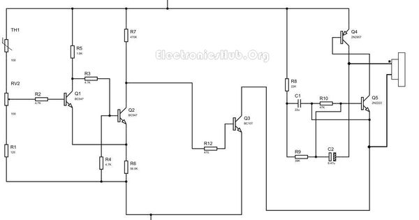 fire alarm circuit with siren sound using thermistors