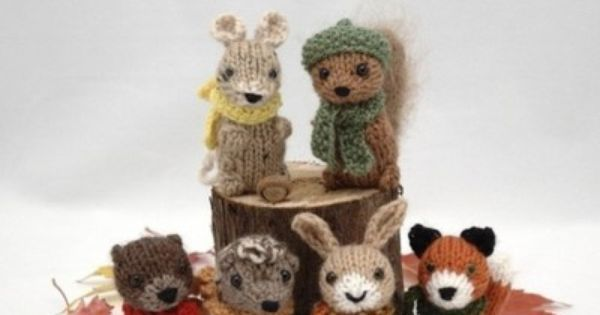Knitting Patterns For Forest Animals : cute little forest critters. Knitted Animals Pinterest Pattern library ...