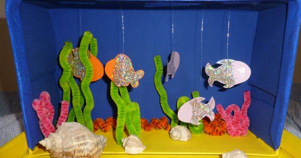 basteln mit schuhkartons aquarium mit fischen und korallen basteln mit und f r kinder. Black Bedroom Furniture Sets. Home Design Ideas