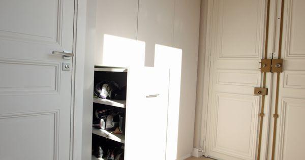 Entr e avec rangement chaussure coulissant tr s malin et for Rangement entree appartement